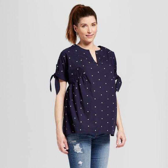 96418add8c068 Ingrid & Isabel Tops | New Isabel Maternity Embroidered Polka Dot ...